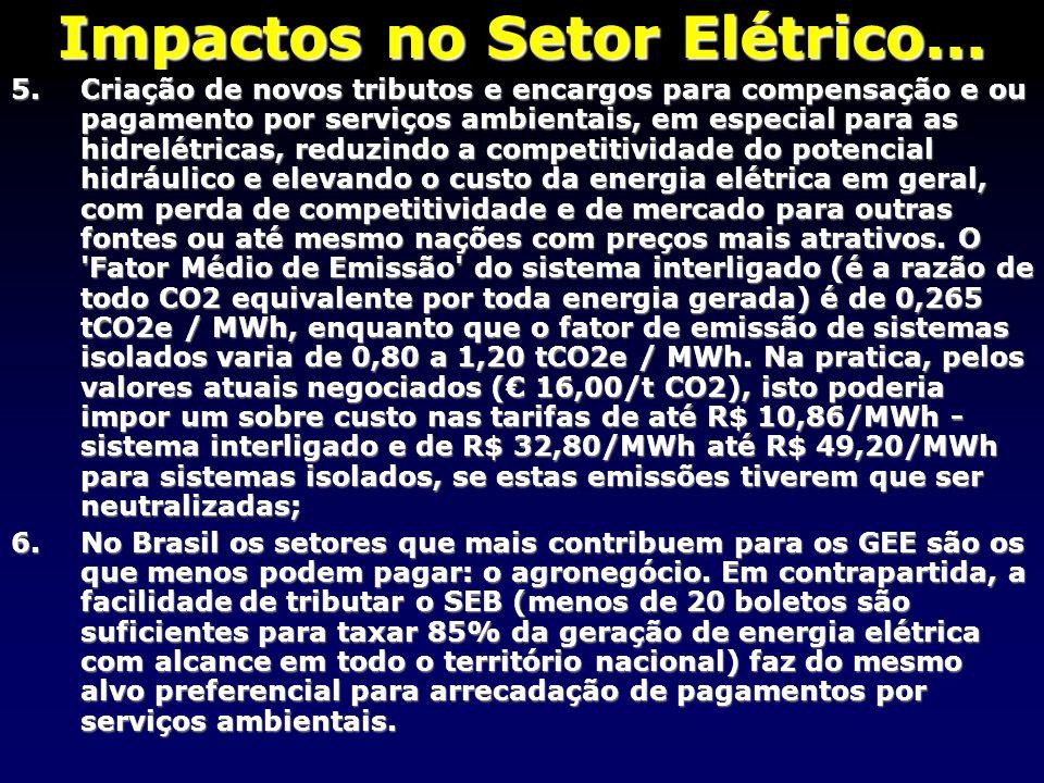 Impactos no Setor Elétrico... 5.Criação de novos tributos e encargos para compensação e ou pagamento por serviços ambientais, em especial para as hidr