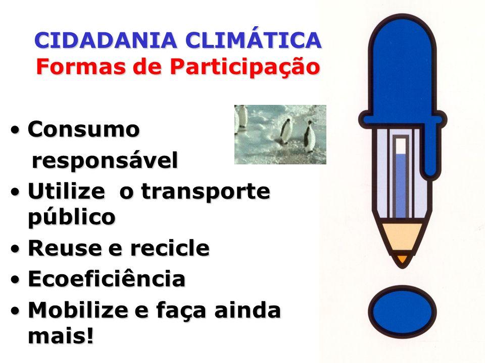 ConsumoConsumo responsável responsável Utilize o transporte públicoUtilize o transporte público Reuse e recicleReuse e recicle EcoeficiênciaEcoeficiên