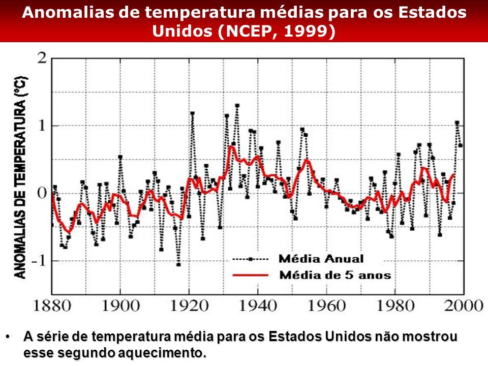 Anomalias de temperatura médias para os Estados Unidos (NCEP, 1999) A série de temperatura média para os Estados Unidos não mostrou esse segundo aquec