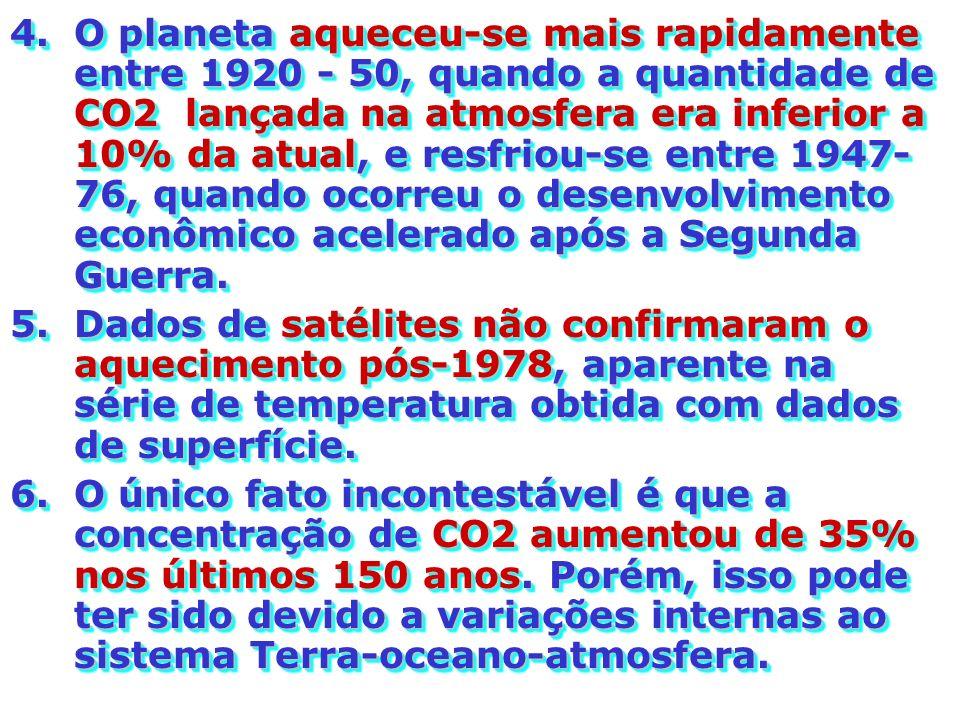 4.O planeta aqueceu-se mais rapidamente entre 1920 - 50, quando a quantidade de CO2 lançada na atmosfera era inferior a 10% da atual, e resfriou-se en