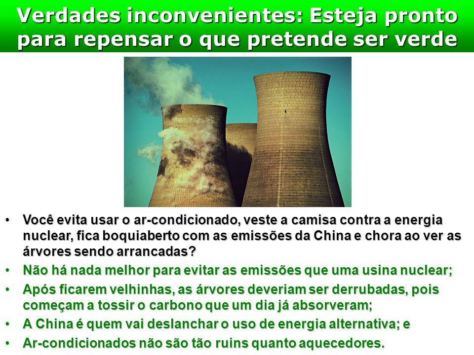 Verdades inconvenientes: Esteja pronto para repensar o que pretende ser verde Você evita usar o ar-condicionado, veste a camisa contra a energia nucle