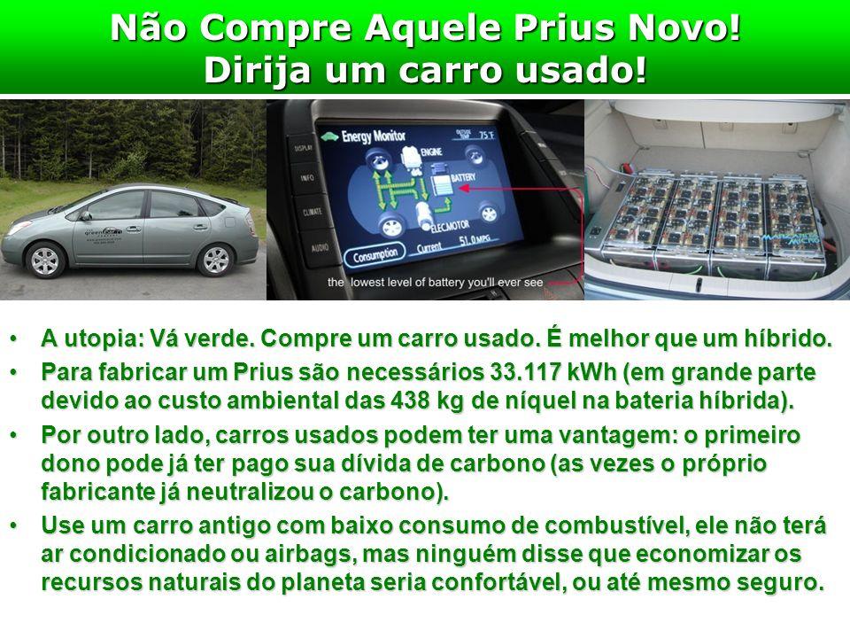 Não Compre Aquele Prius Novo! Dirija um carro usado! A utopia: Vá verde. Compre um carro usado. É melhor que um híbrido.A utopia: Vá verde. Compre um
