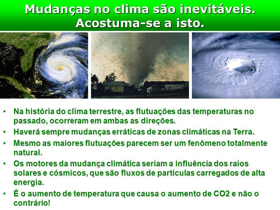 Mudanças no clima são inevitáveis. Acostuma-se a isto. Na história do clima terrestre, as flutuações das temperaturas no passado, ocorreram em ambas a