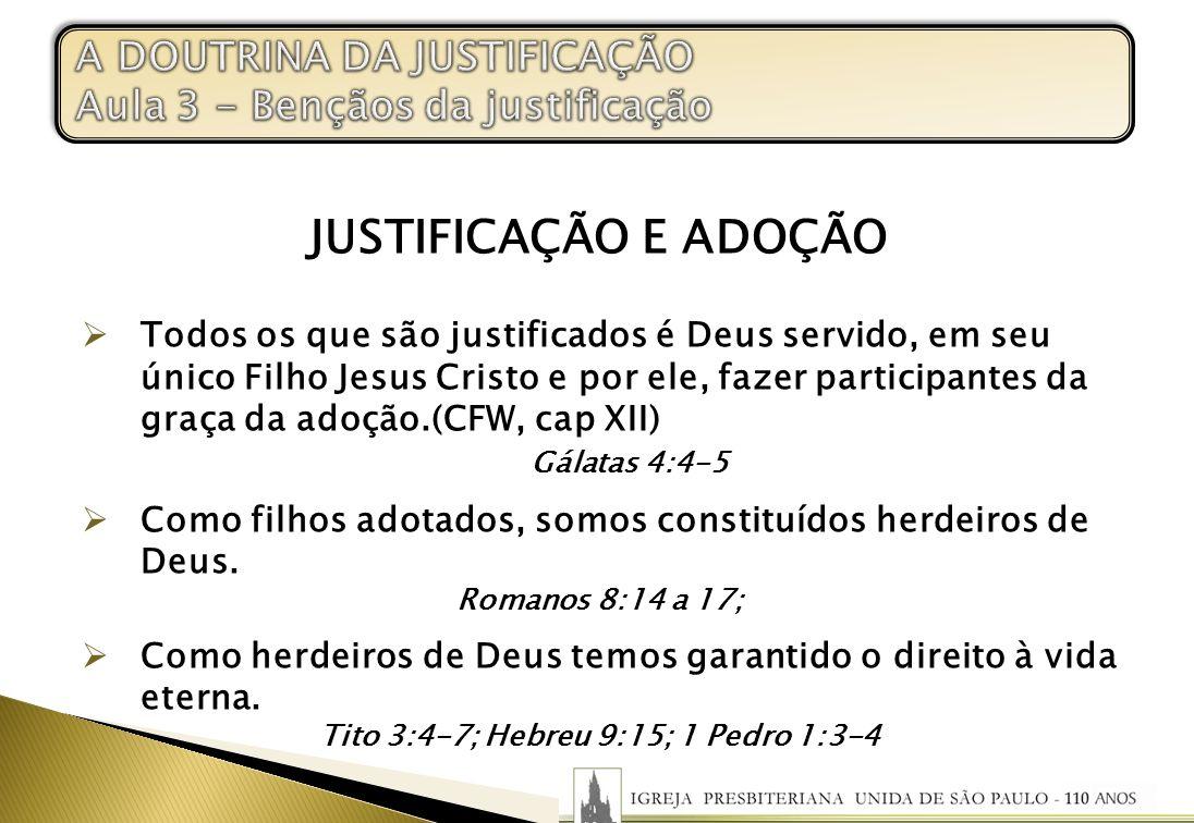 JUSTIFICAÇÃO E ADOÇÃO Todos os que são justificados é Deus servido, em seu único Filho Jesus Cristo e por ele, fazer participantes da graça da adoção.