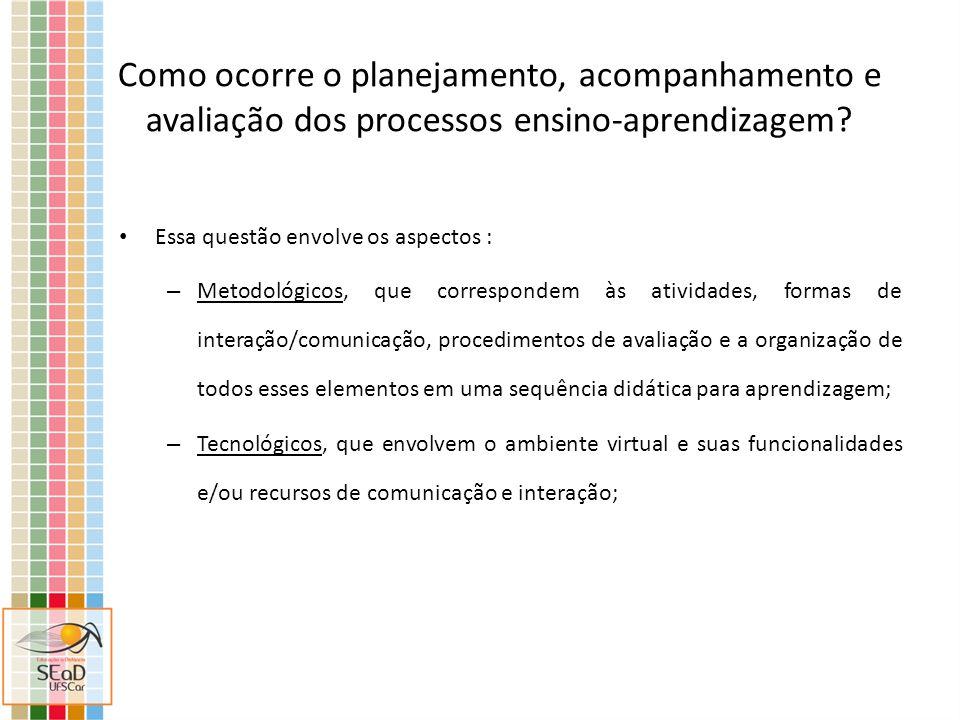 Como ocorre o planejamento, acompanhamento e avaliação dos processos ensino-aprendizagem? Essa questão envolve os aspectos : – Metodológicos, que corr