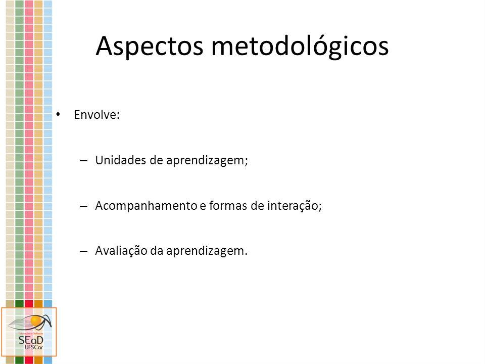 Aspectos metodológicos Envolve: – Unidades de aprendizagem; – Acompanhamento e formas de interação; – Avaliação da aprendizagem.