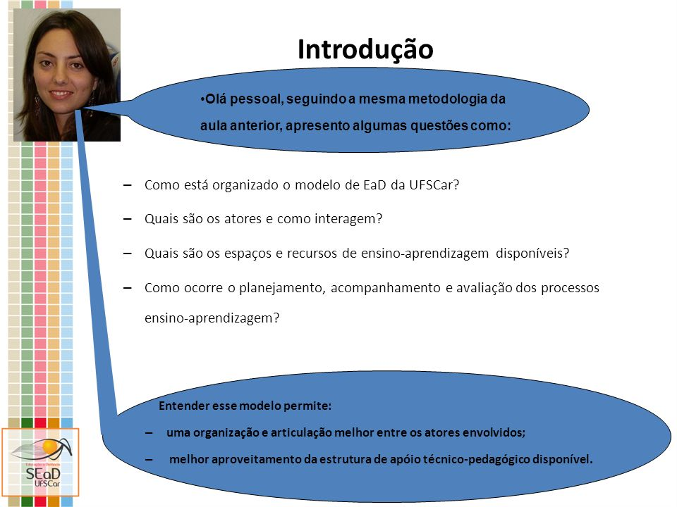 Introdução – Como está organizado o modelo de EaD da UFSCar? – Quais são os atores e como interagem? – Quais são os espaços e recursos de ensino-apren