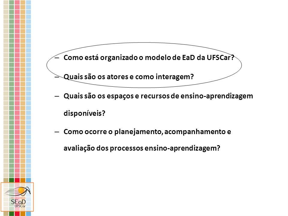 – Como está organizado o modelo de EaD da UFSCar? – Quais são os atores e como interagem? – Quais são os espaços e recursos de ensino-aprendizagem dis