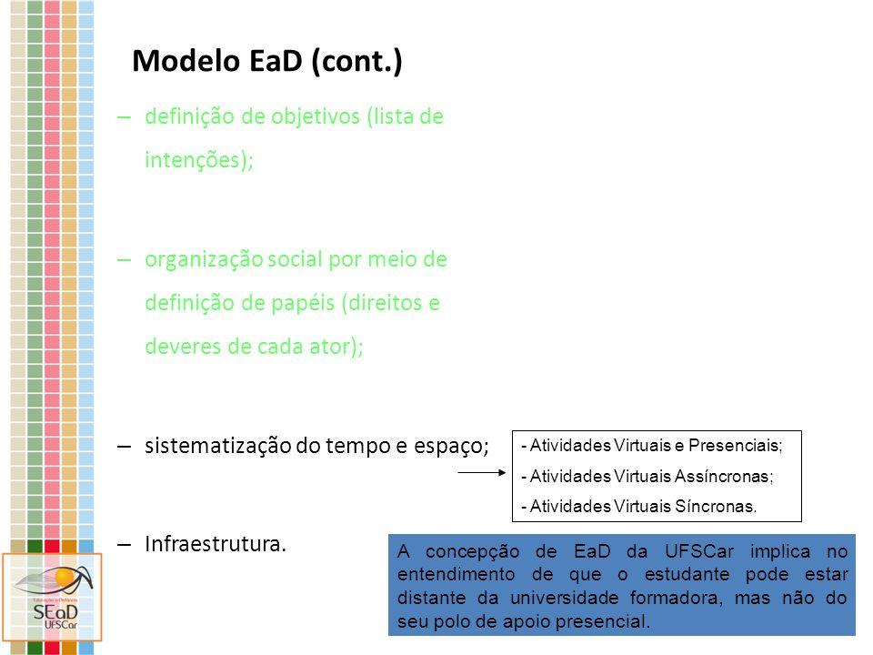 Modelo EaD (cont.) - Polos presenciais (mantidos pelas prefeituras com apoio do MEC): contem coordenador do curso, secretaria, tutores presenciais, técnicos de informática e de laboratório.
