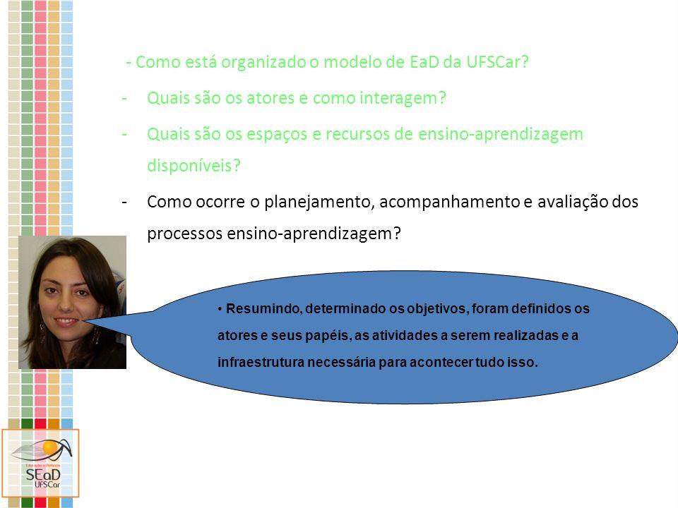 - Como está organizado o modelo de EaD da UFSCar? -Quais são os atores e como interagem? -Quais são os espaços e recursos de ensino-aprendizagem dispo