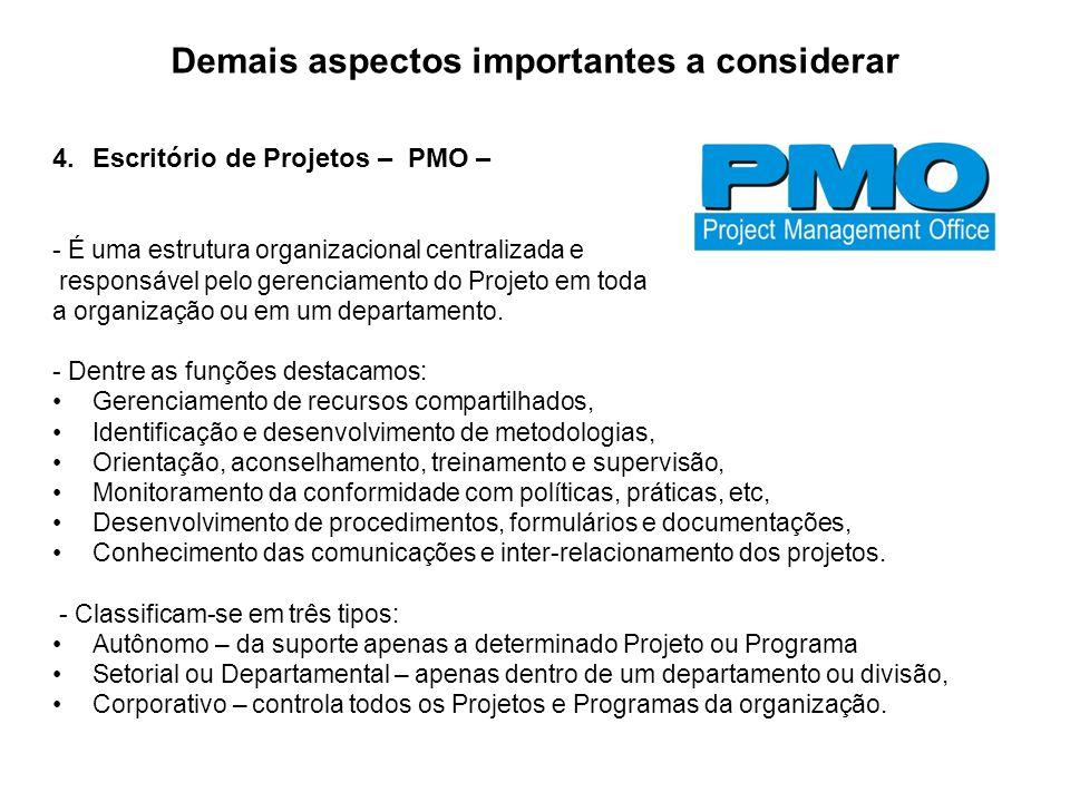 Demais aspectos importantes a considerar 4.Escritório de Projetos – PMO – - É uma estrutura organizacional centralizada e responsável pelo gerenciamen