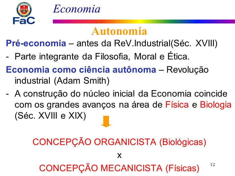 Economia Pré-economia – antes da ReV.Industrial(Séc. XVIII) -Parte integrante da Filosofia, Moral e Ética. Economia como ciência autônoma – Revolução