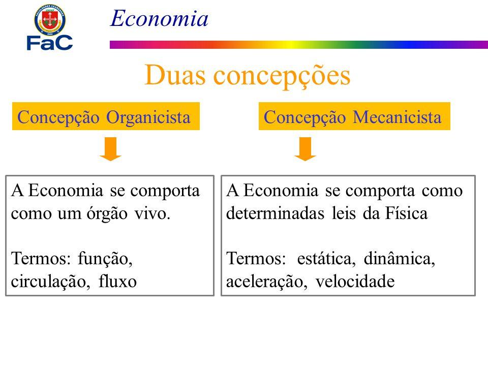 Economia Duas concepções Concepção Organicista A Economia se comporta como um órgão vivo. Termos: função, circulação, fluxo Concepção Mecanicista A Ec