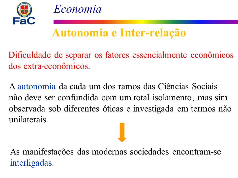 Economia Autonomia e Inter-relação Dificuldade de separar os fatores essencialmente econômicos dos extra-econômicos. A autonomia da cada um dos ramos