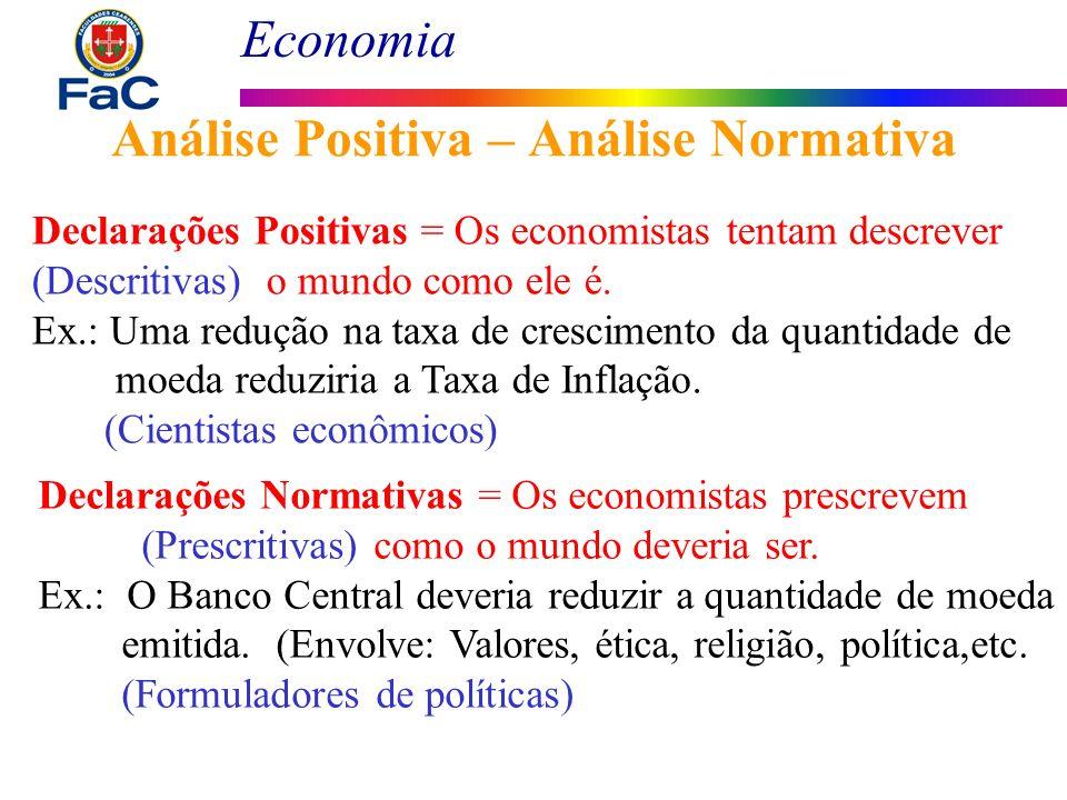 Economia Análise Positiva – Análise Normativa Declarações Positivas = Os economistas tentam descrever (Descritivas) o mundo como ele é. Ex.: Uma reduç