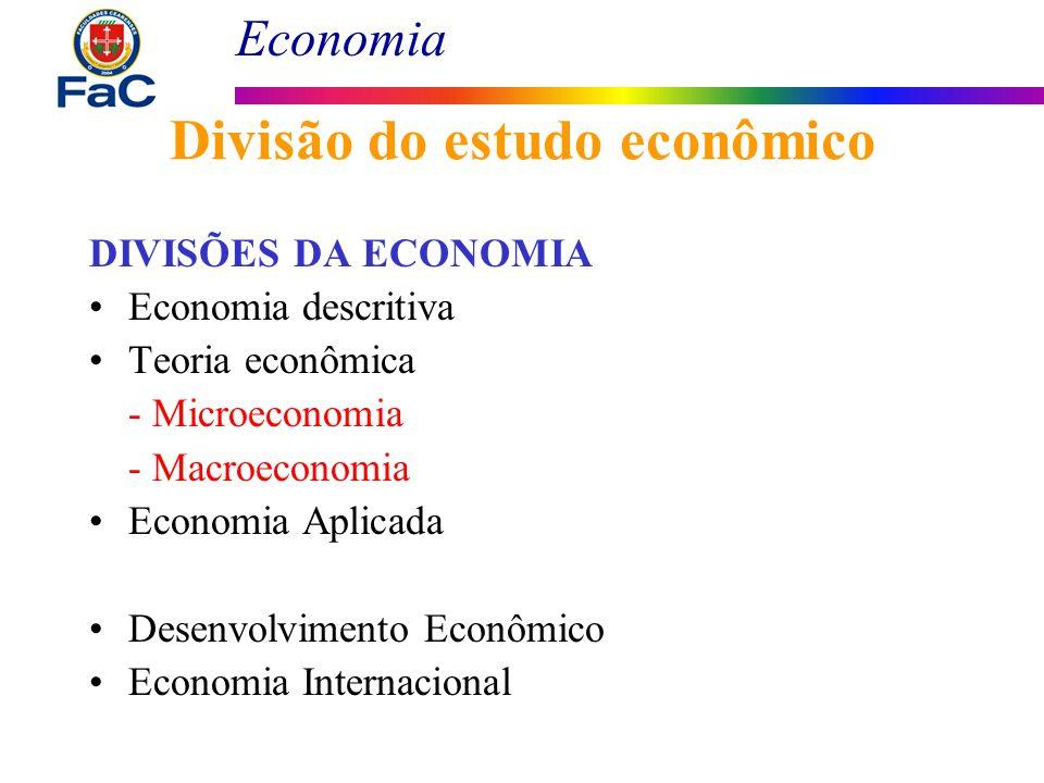Economia Divisão do estudo econômico DIVISÕES DA ECONOMIA Economia descritiva Teoria econômica - Microeconomia - Macroeconomia Economia Aplicada Desen