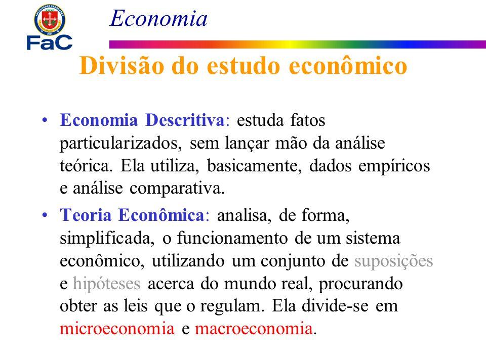 Economia Divisão do estudo econômico Economia Descritiva: estuda fatos particularizados, sem lançar mão da análise teórica. Ela utiliza, basicamente,