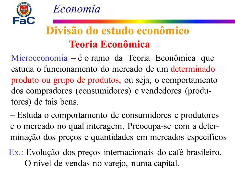Economia Divisão do estudo econômico Teoria Econômica Microeconomia – é o ramo da Teoria Econômica que estuda o funcionamento do mercado de um determi
