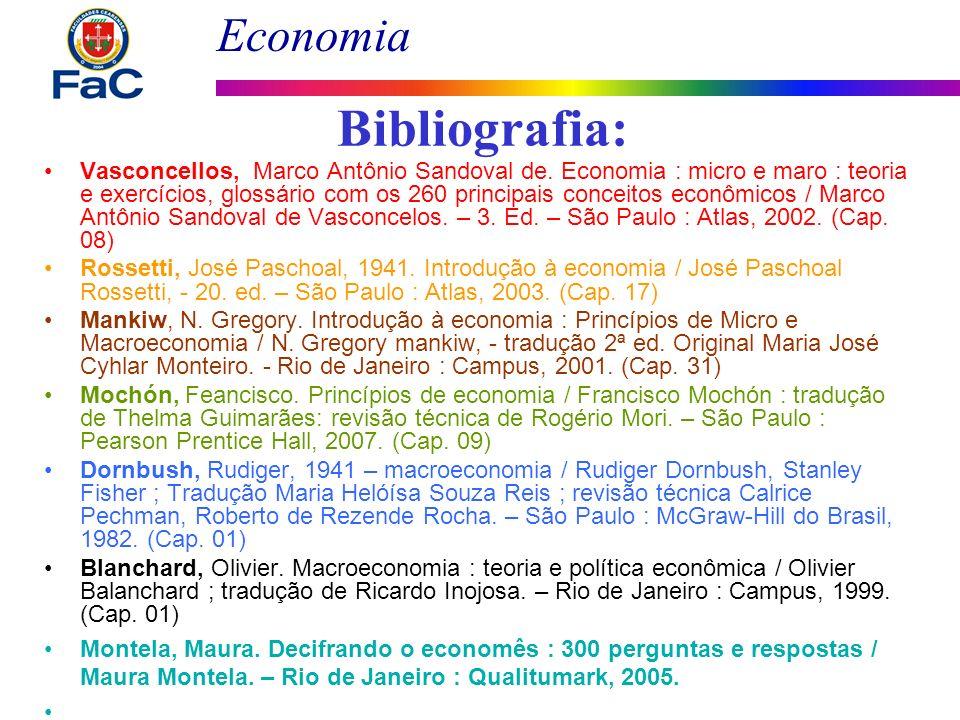 Economia Bibliografia: Vasconcellos, Marco Antônio Sandoval de. Economia : micro e maro : teoria e exercícios, glossário com os 260 principais conceit