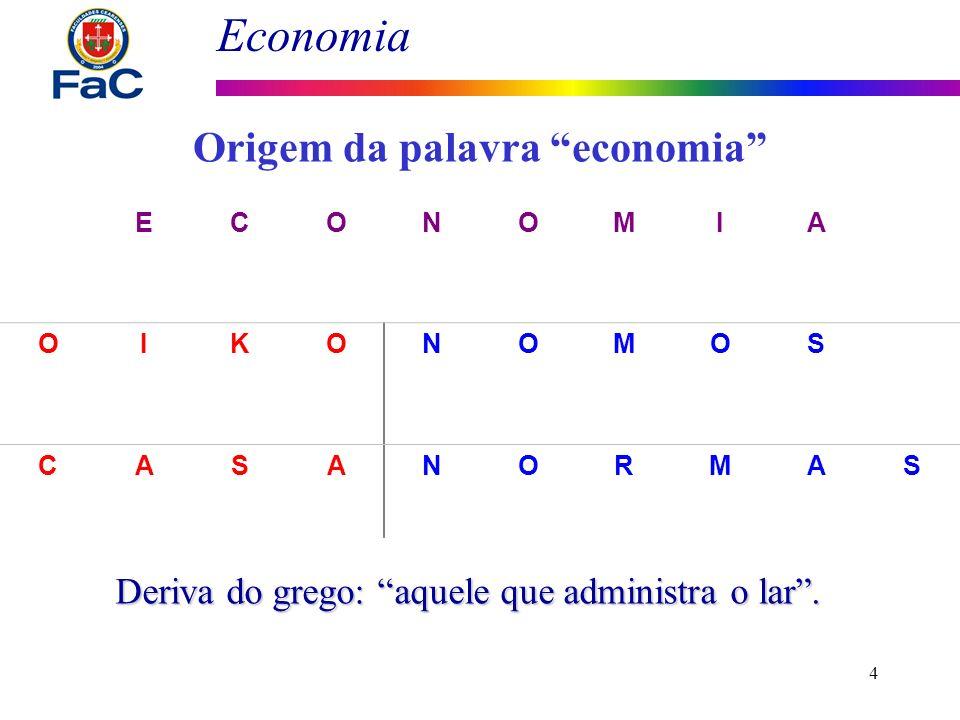 Economia 4 ECONOMIA OIKONOMOS CASANORMAS a definição e imposição de regras na casa Origem da palavra economia Deriva do grego: aquele que administra o
