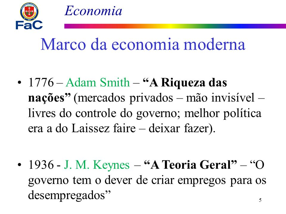 Economia 5 Marco da economia moderna 1776 – Adam Smith – A Riqueza das nações (mercados privados – mão invisível – livres do controle do governo; melh