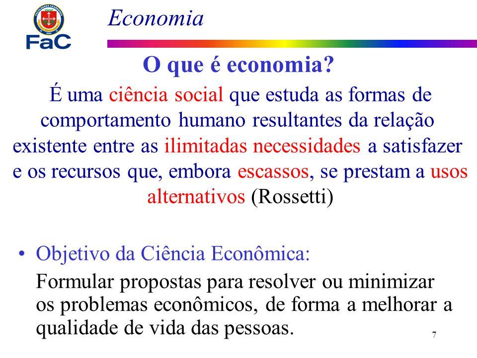 Economia 7 O que é economia? É uma ciência social que estuda as formas de comportamento humano resultantes da relação existente entre as ilimitadas ne