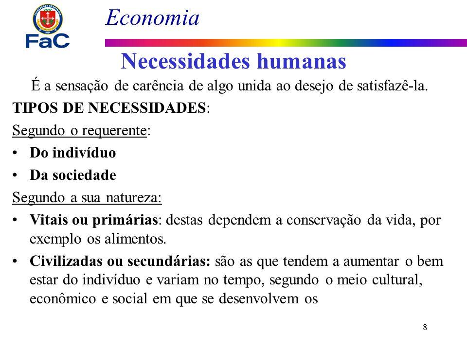Economia 8 Necessidades humanas É a sensação de carência de algo unida ao desejo de satisfazê-la. TIPOS DE NECESSIDADES: Segundo o requerente: Do indi