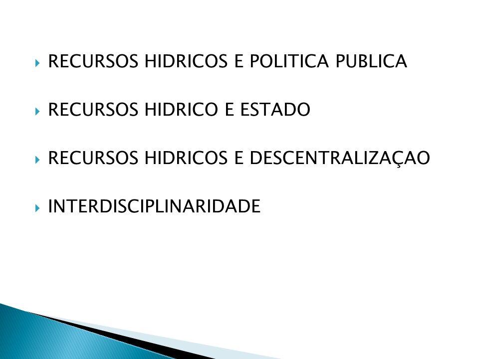 RECURSOS HIDRICOS E POLITICA PUBLICA RECURSOS HIDRICO E ESTADO RECURSOS HIDRICOS E DESCENTRALIZAÇAO INTERDISCIPLINARIDADE