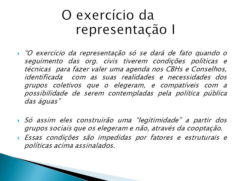 O exercício da representação só se dará de fato quando o seguimento das org. civis tiverem condições políticas e técnicas para fazer valer uma agenda
