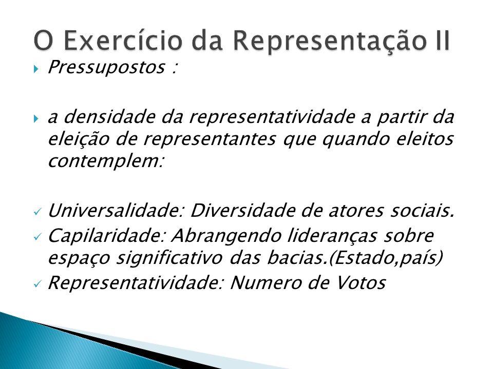 Pressupostos : a densidade da representatividade a partir da eleição de representantes que quando eleitos contemplem: Universalidade: Diversidade de atores sociais.