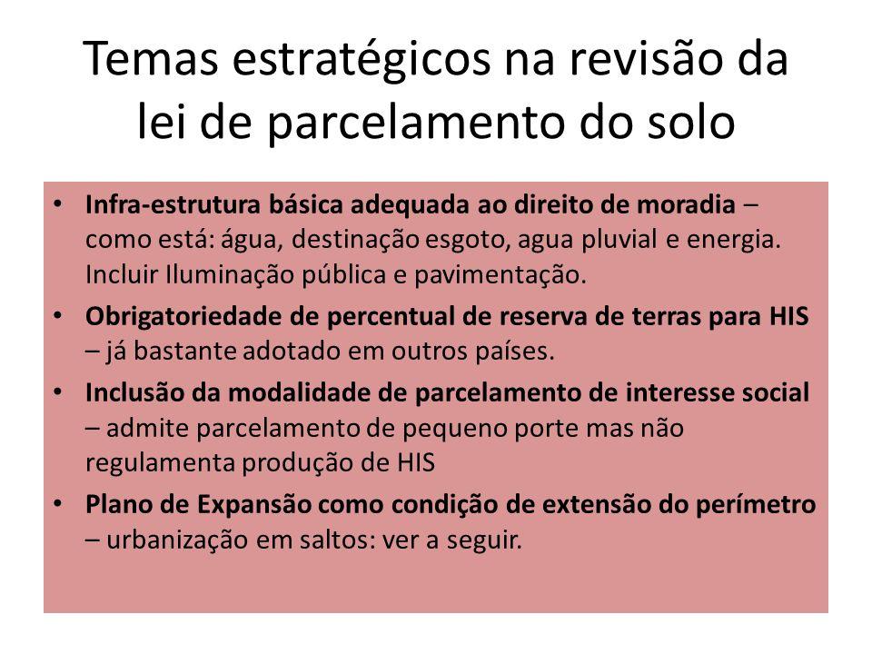 Temas estratégicos na revisão da lei de parcelamento do solo Infra-estrutura básica adequada ao direito de moradia – como está: água, destinação esgot