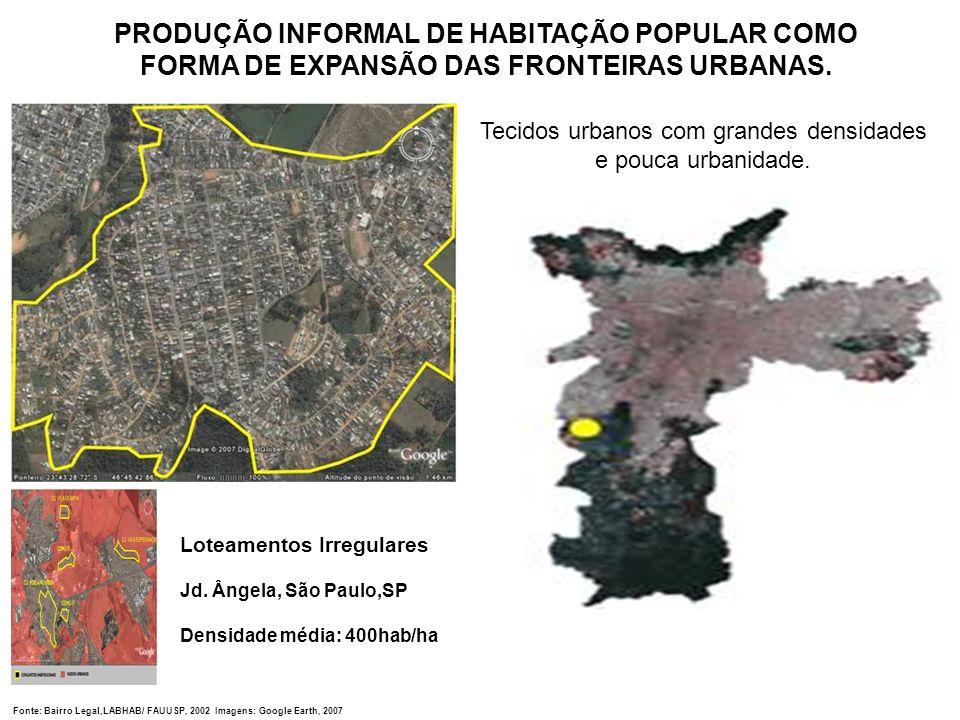 Loteamentos Irregulares Jd. Ângela, São Paulo,SP Densidade média: 400hab/ha Tecidos urbanos com grandes densidades e pouca urbanidade. PRODUÇÃO INFORM