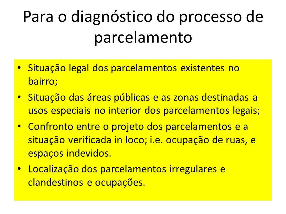 Para o diagnóstico do processo de parcelamento Situação legal dos parcelamentos existentes no bairro; Situação das áreas públicas e as zonas destinada