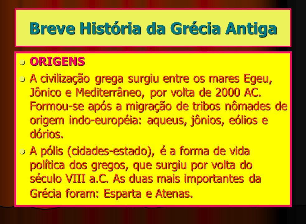 Breve História da Grécia Antiga ORIGENS ORIGENS A civilização grega surgiu entre os mares Egeu, Jônico e Mediterrâneo, por volta de 2000 AC. Formou-se