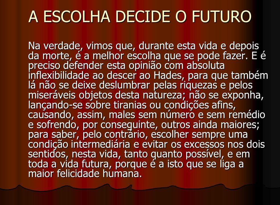 A ESCOLHA DECIDE O FUTURO Na verdade, vimos que, durante esta vida e depois da morte, é a melhor escolha que se pode fazer. E é preciso defender esta