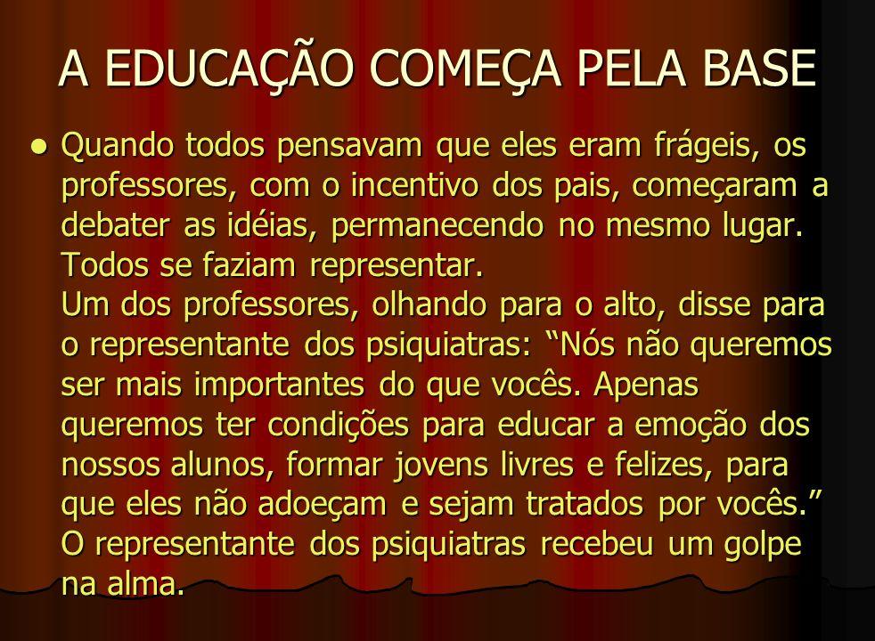 A EDUCAÇÃO COMEÇA PELA BASE Quando todos pensavam que eles eram frágeis, os professores, com o incentivo dos pais, começaram a debater as idéias, perm