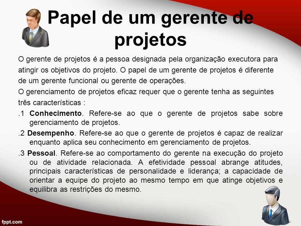 Papel de um gerente de projetos O gerente de projetos é a pessoa designada pela organização executora para atingir os objetivos do projeto. O papel de