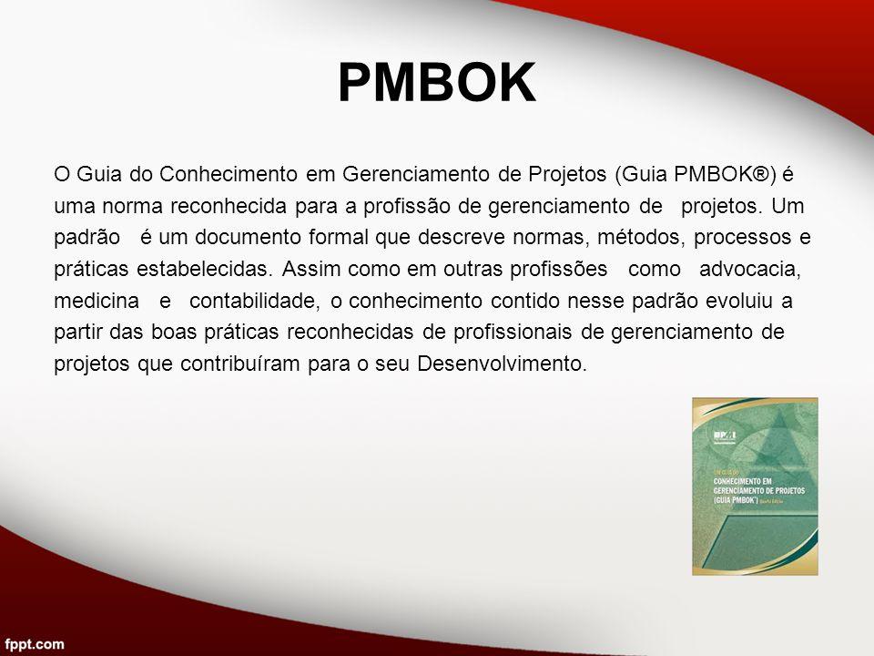 PMBOK O Guia do Conhecimento em Gerenciamento de Projetos (Guia PMBOK®) é uma norma reconhecida para a profissão de gerenciamento de projetos. Um padr