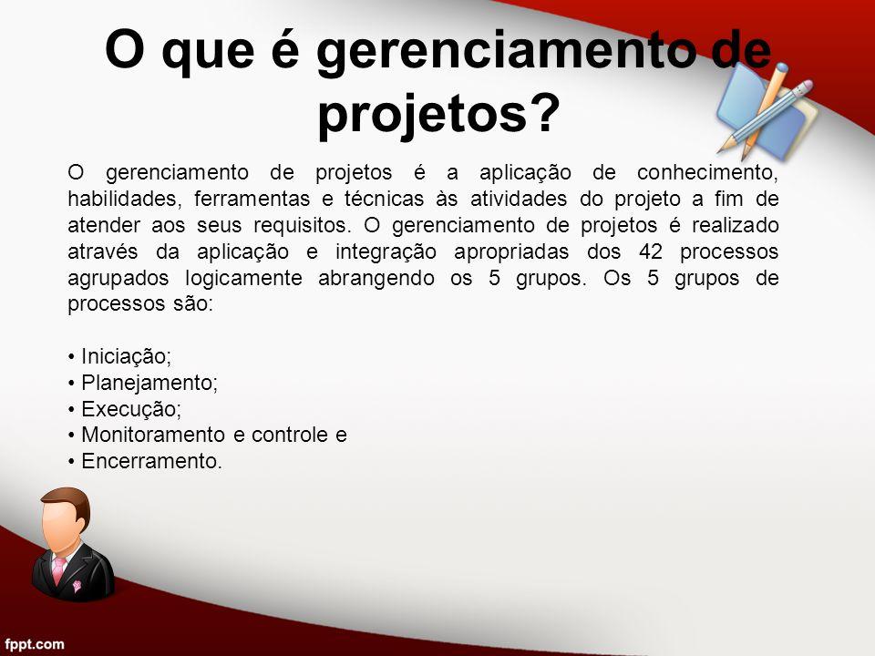 O que é gerenciamento de projetos? O gerenciamento de projetos é a aplicação de conhecimento, habilidades, ferramentas e técnicas às atividades do pro