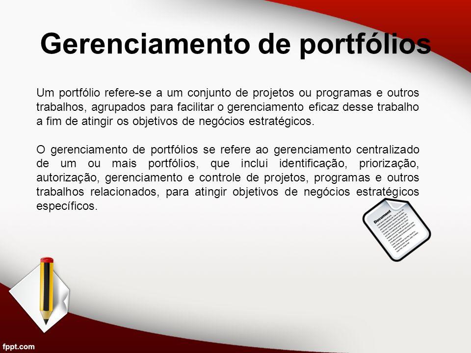 Gerenciamento de portfólios Um portfólio refere-se a um conjunto de projetos ou programas e outros trabalhos, agrupados para facilitar o gerenciamento