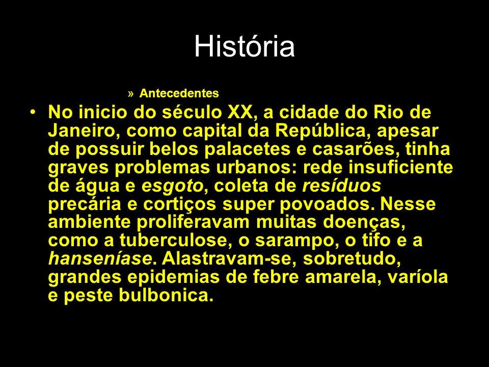 História »Antecedentes No inicio do século XX, a cidade do Rio de Janeiro, como capital da República, apesar de possuir belos palacetes e casarões, ti