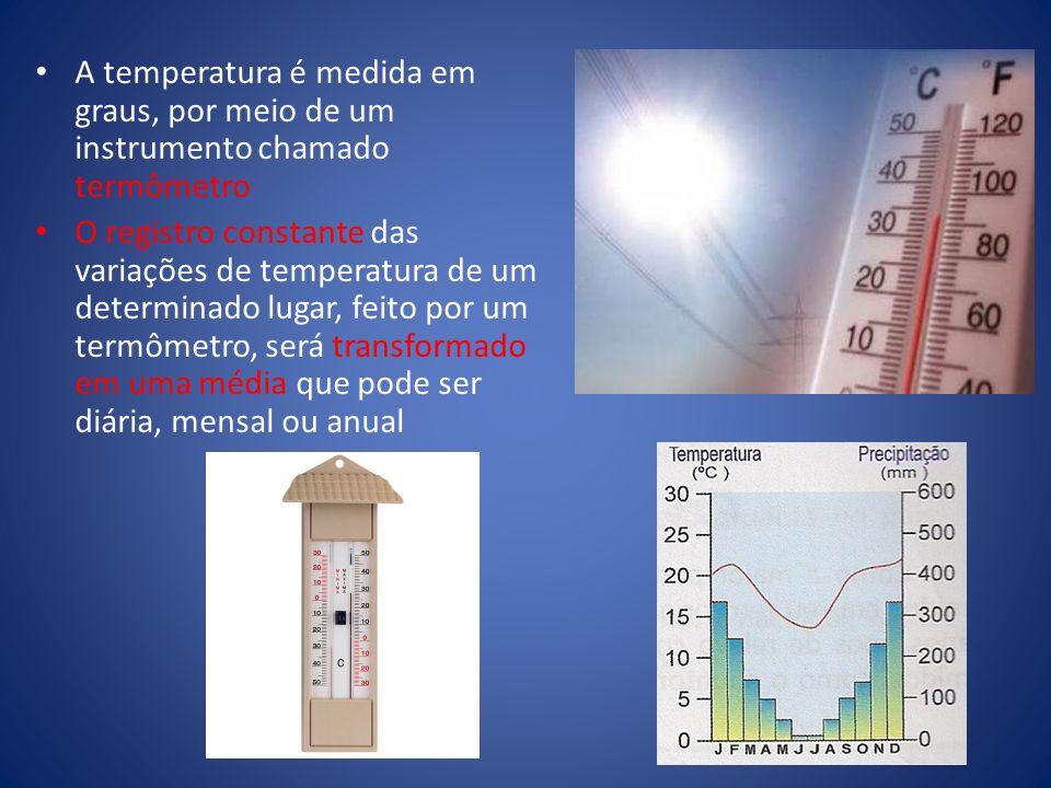 A temperatura é medida em graus, por meio de um instrumento chamado termômetro O registro constante das variações de temperatura de um determinado lug