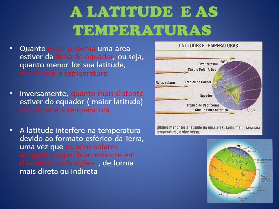 A LATITUDE E AS TEMPERATURAS Quanto mais próxima uma área estiver da linha do equador, ou seja, quanto menor for sua latitude, maior será a temperatur