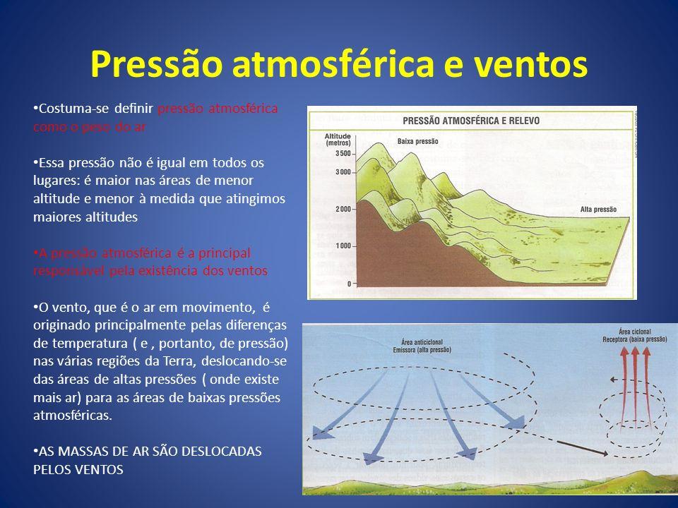 Pressão atmosférica e ventos Costuma-se definir pressão atmosférica como o peso do ar Essa pressão não é igual em todos os lugares: é maior nas áreas