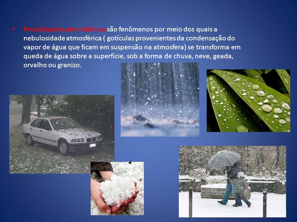 Precipitações atmosféricas são fenômenos por meio dos quais a nebulosidade atmosférica ( gotículas provenientes da condensação do vapor de água que fi