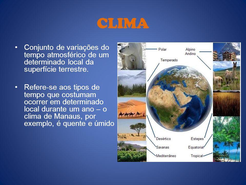CLIMA Conjunto de variações do tempo atmosférico de um determinado local da superfície terrestre. Refere-se aos tipos de tempo que costumam ocorrer em