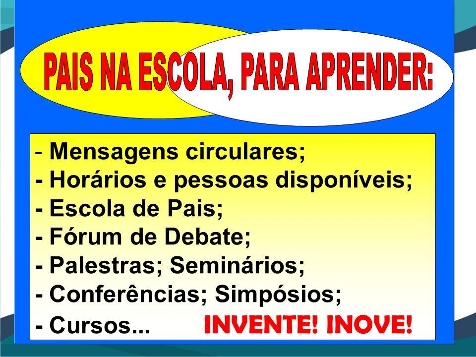 - Mensagens circulares; - Horários e pessoas disponíveis; - Escola de Pais; - Fórum de Debate; - Palestras; Seminários; - Conferências; Simpósios; - C