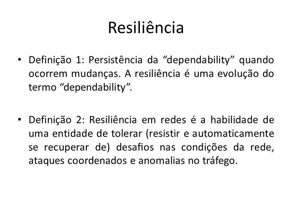 Resiliência Definição 1: Persistência da dependability quando ocorrem mudanças. A resiliência é uma evolução do termo dependability. Definição 2: Resi