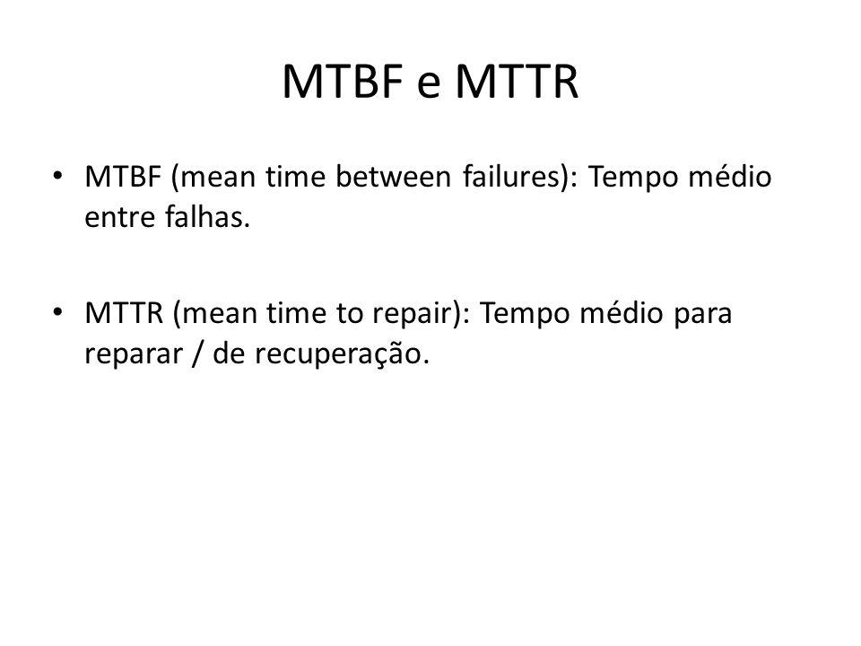 MTBF e MTTR MTBF (mean time between failures): Tempo médio entre falhas. MTTR (mean time to repair): Tempo médio para reparar / de recuperação.