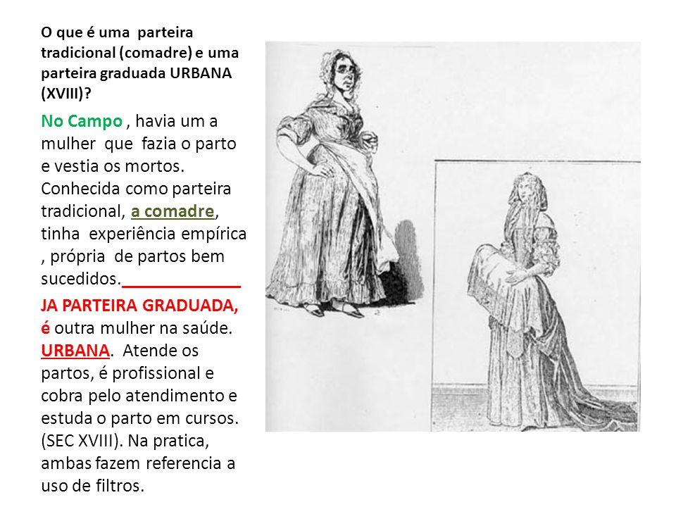 O que é uma parteira tradicional (comadre) e uma parteira graduada URBANA (XVIII)? No Campo, havia um a mulher que fazia o parto e vestia os mortos. C